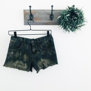Free People Green Camo Distressed Shorts 24